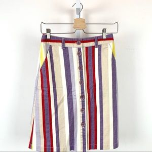 Maeve Seafaring Multicolor Stripe Button Up Skirt